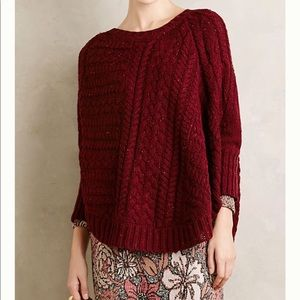 Anthro angel of the north curved cable sweater XS